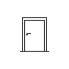 Door line icon, outline vector sign, linear style pictogram isolated on white. Symbol, logo illustration. Editable stroke. Pixel perfect