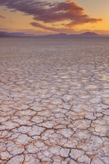 Cracked earth in remote Alvord Desert, Oregon, USA at sunrise