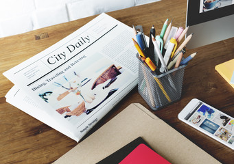 Newspaper Pen News Folder Lifestyle Concept