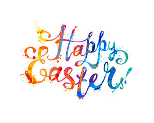 Happy Easter card. Hand written inscription