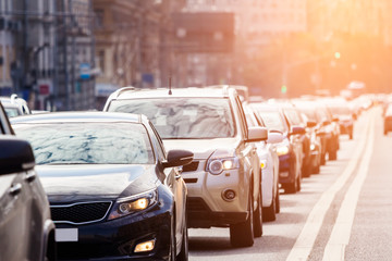 Zoom view of the queue of cars on the road