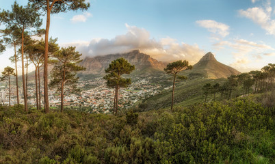 Sunset overlooking the town of cape town, and table view Wall mural