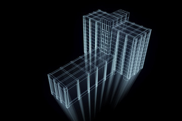 3D Building in Motion. Nice 3D Rendering