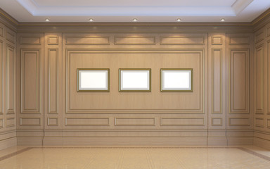 A classic interior with wood paneling. 3d rendering.