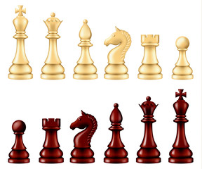 Wooden chess pieces set, two versions - white and black. Vector illustration.