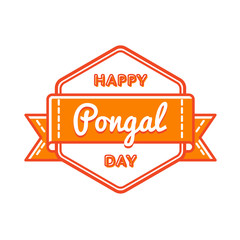 Happy Pongal day emblem isolated vector illustration on white background. 14 january indian traditional holiday event label, greeting card decoration graphic element