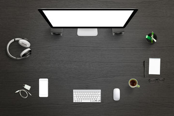 Wall Mural - Designer studio with isolated computer display for mockup. Top view with free space for text. Header, hero image.