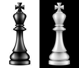 Chess piece King, two versions - white and black. Vector illustration.