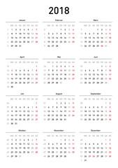 Kalendervorlage 2018, einfach, Hochformat, Feiertage Deutschland