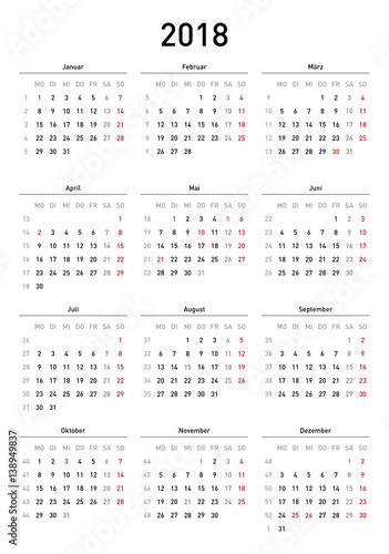 Kalendervorlage 2018, einfach, Hochformat, Feiertage Deutschland ...