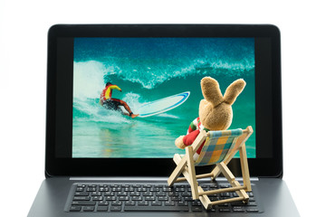 Rabbit doll relaxing on beach chair looking at photo on laptop, Isolated on white background. .