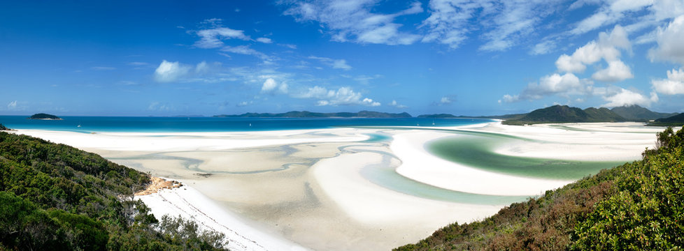 panoramic view of , Whitehaven Beach, Whitsunday Islands, Australia.