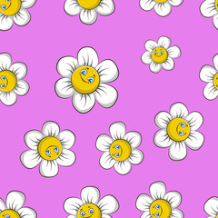 Pattern children Chamomile. Seamless pattern cartoon chamomile on a pink background. vector illustration.