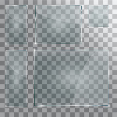 set of transparent glass on sample .