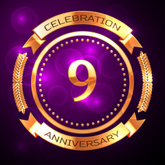 Nine years anniversary celebration with golden ring and ribbon on purple background.