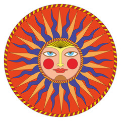 Vector summer sun in russian style, ornamental decoration.