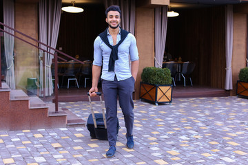 Young Guy Arab Businessman Student Came go to Restaurant With Su