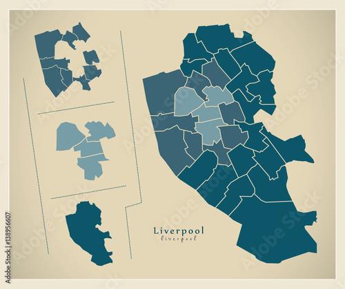 Modern City Map - Liverpool England illustration\