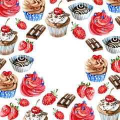 Watercolor sweets label. Card background with hand drawn food objects: cupcakes, chocolate, berry. Party time frame
