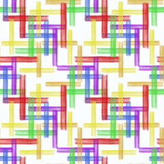 Seamless abstract pattern.Colorful paint strokes with a brush on the white background.