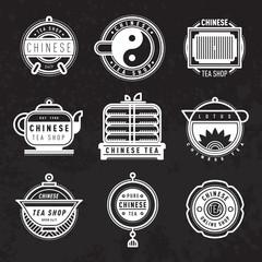Chinese oriental tea shop badges. Vector.