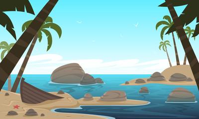 Cartoon Tropical Beach