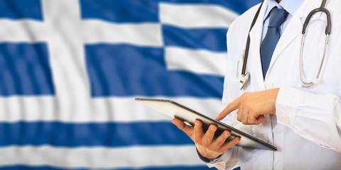 Doctor on Greece flag background. 3d illustration