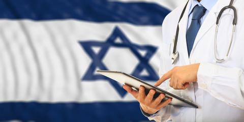 Doctor on Israel flag background. 3d illustration