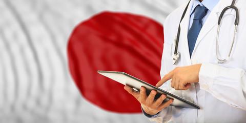 Doctor on Japan flag background. 3d illustration