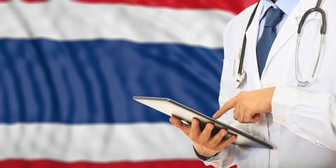 Doctor on Thailand flag background. 3d illustration