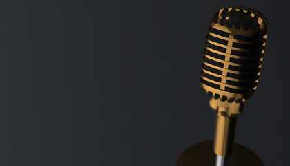 Retro gold microphone. 3d render