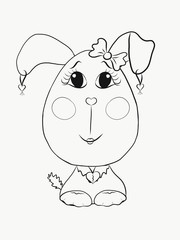 Coloring for kids, funny dog girl