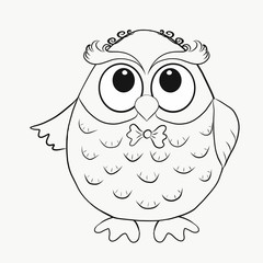 Coloring for kids, funny owl boy