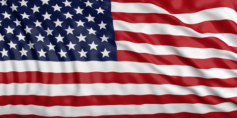Waiving USA flag. 3d illustration