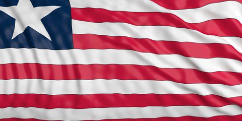 Waiving Liberia flag. 3d illustration