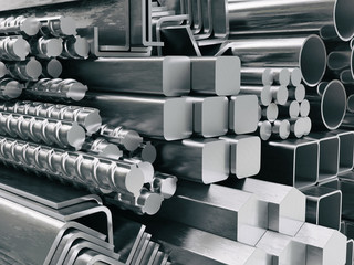 Metal profiles and tubes. Different stainless steel products.