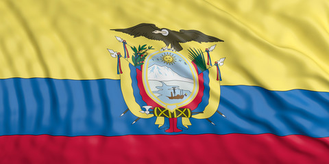 Waiving Ecuador flag. 3d illustration