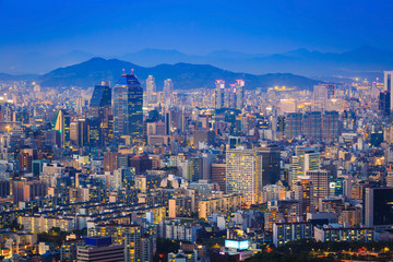 Seoul city skyline at Night, South Korea.