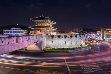Hwaseong Fortress, Traditional Architecture of Korea at Suwon, South Korea.