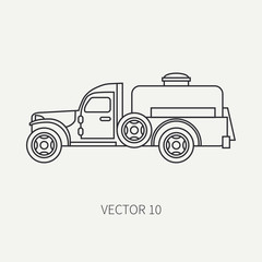 Line flat plain vector icon service staff refueller army truck. Military vehicle. Cartoon vintage style. Cargo transportation. Tractor unit. Tow auto. Simple. Illustration and element for your design.