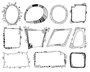 Hand drawn fantasy frames set