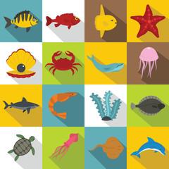 Sea animals icons set, flat style