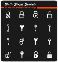 lock and key icon set