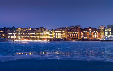 Aker Brygge in the winter. Frozen sea. Oslo, Norway