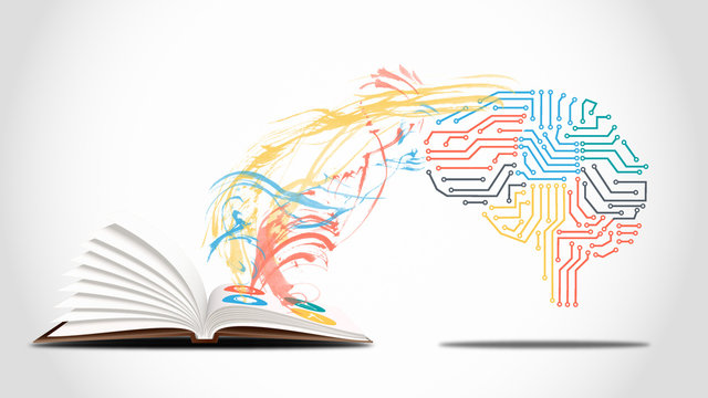 Machine learning and artificial intelligence concept - a electronic brain is learning from a book
