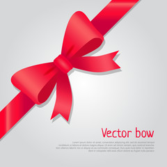 Vector Red Bow. Colourful Ribbon. Cartoon Style