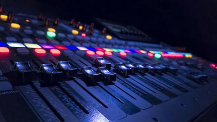 Audio Mixer in dark background