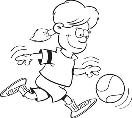 Black and white illustration of a girl playing basketball.