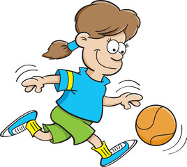 Cartoon illustration of a girl playing basketball.