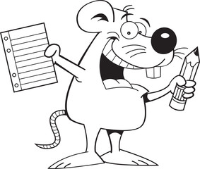 Black and white illustration of a mouse holding a paper and pencil.
